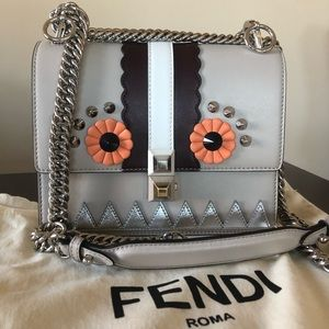 Fendi I Faces Mini Gray Pattern Calfskin Crossbody